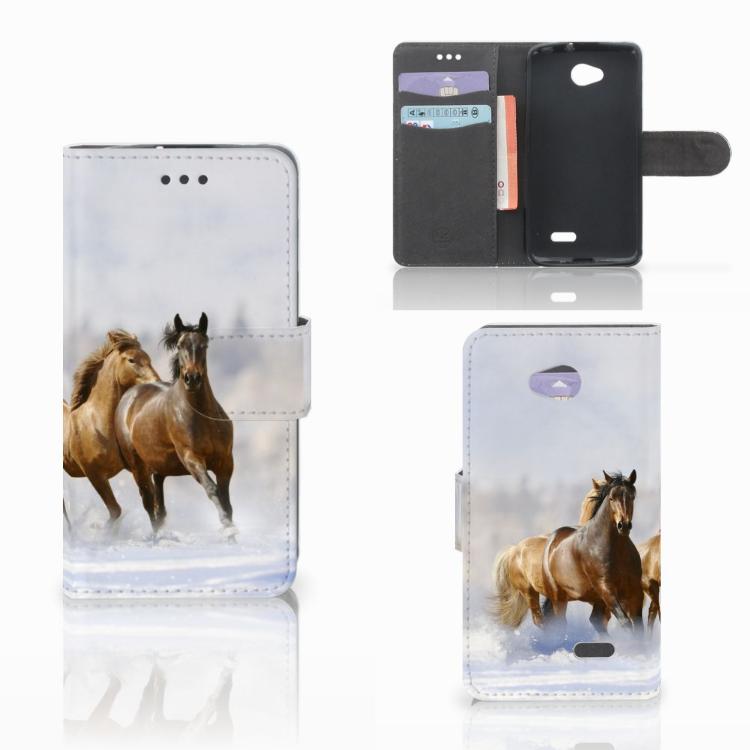 LG L70 Telefoonhoesje met Pasjes Paarden