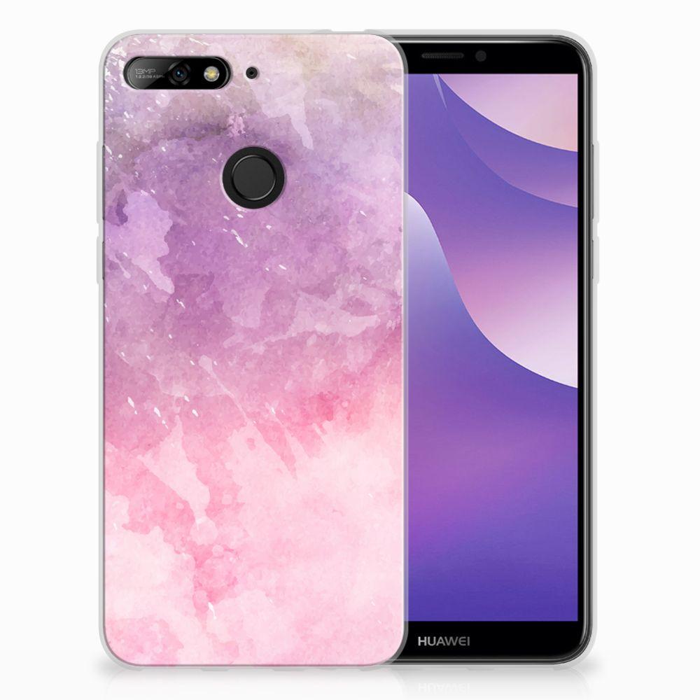 Huawei Y6 (2018) TPU Hoesje Design Pink Purple Paint