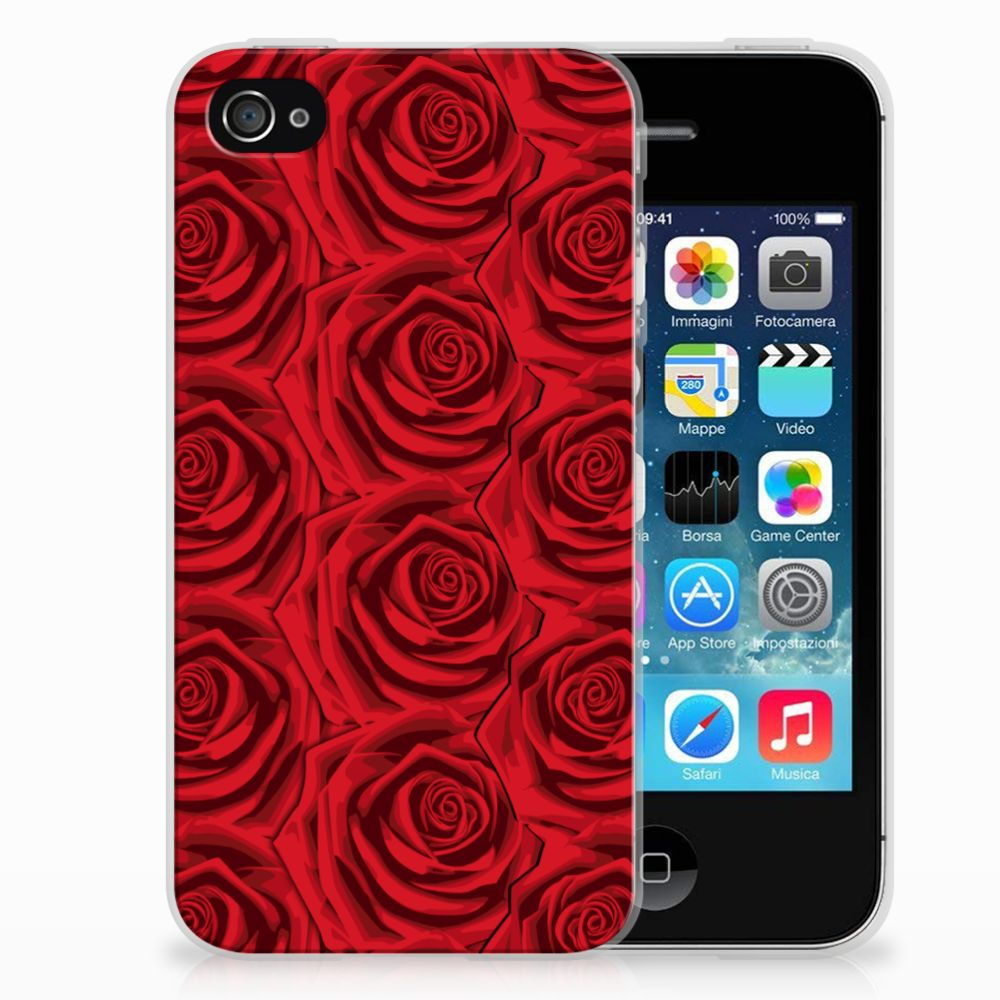 Apple iPhone 4 | 4s Uniek TPU Hoesje Red Roses